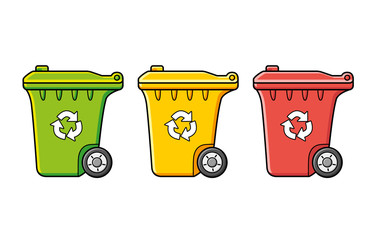 Recycling wheelie trash bin dumpsters in different colors isolated. Waste segregation management, separation or sorting. Green, yellow and red.
