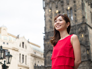 attractive asian woman traveling in europe