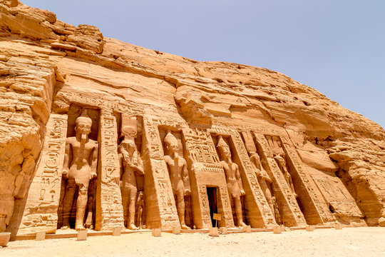 Abu Simbel, The Rock Temple in Nubia, Southern Egypt commemorating Pharaoh Ramesses II and his wife Queen Nefertari, Egypt