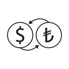 dollar and turkish liras exchange vector icon desing illustration