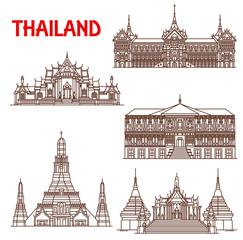 Thailand Bangkok architecture facades line icons