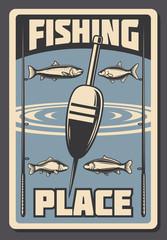 Sea fishing advertisement vector retro poster