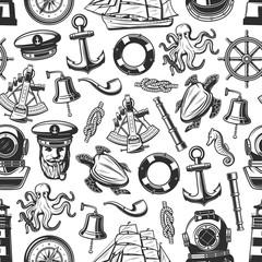 Marine nautical seamless pattern background
