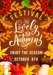 Autumn festival poster with foliage and mushrooms