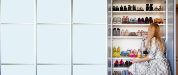 Woman choosing shoes on your closet for shoes.