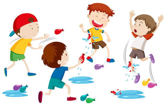 Children playing water balloon fight