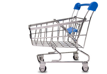 shopping cart on white background.(clipping path)