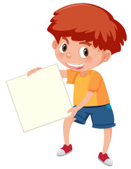 A boy holding the white paper