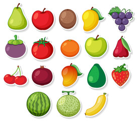 A set of sticker fruit