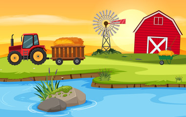 Farm scene with barn and tractor