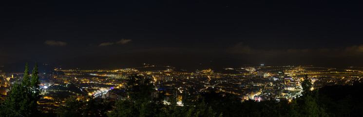 Landscape of the city of Bilbao at night, Spain