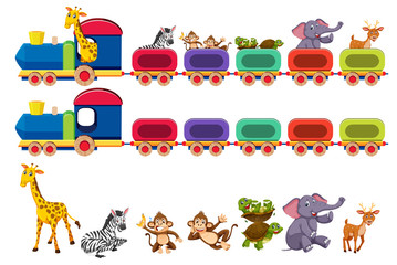 Animals and train element
