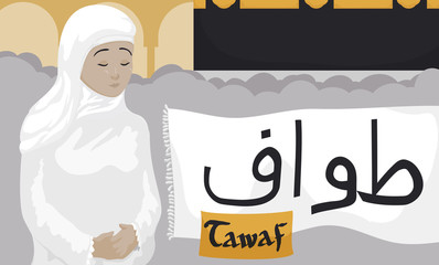 Muslim Woman Performing the Tawaf Ritual for Hajj Celebration, Vector Illustration