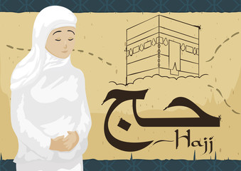 Woman Wearing Ihram over Scroll with Mecca Draw during Hajj, Vector Illustration