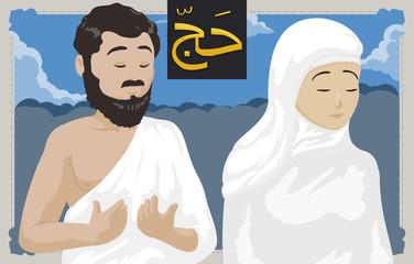 Couple of Muslim Pilgrims Praying During Hajj Pilgrimage with Crowd, Vector Illustration