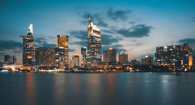 Beautiful landscape sunset of Ho Chi Minh city or Sai Gon, Vietnam. Royalty high-quality free stock image of Ho Chi Minh City with skyscraper buildings