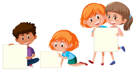 A set of children with blank banner