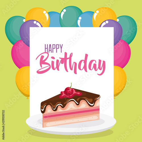 Happy Birthday Card With Cake Portion Stock Image And Royalty Free