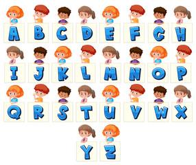 Set of children holding letters