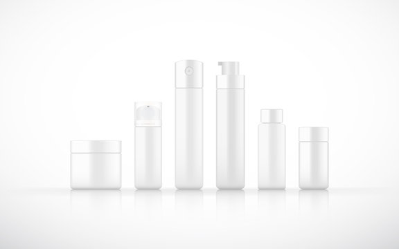 set of isolated blank cosmetic bottle with Airless Pump cap ,pump top in white color  background