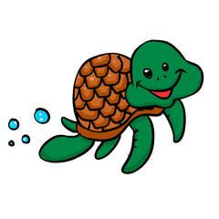 Cartoon sea turtle . illustration