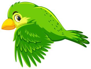 Cute green bird flying