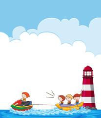 Children on banana boat template