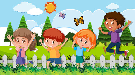 Happy children outdoor scene