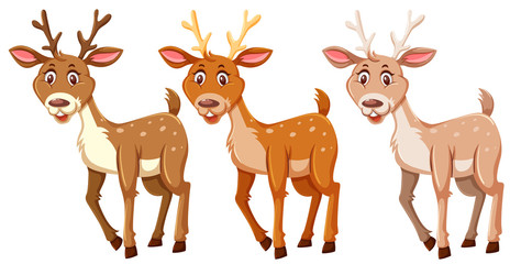 Set of cute deers