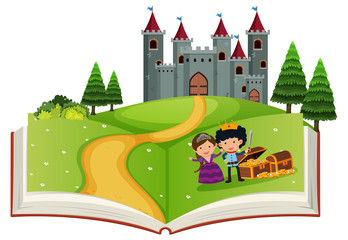 Open book fairy tale story