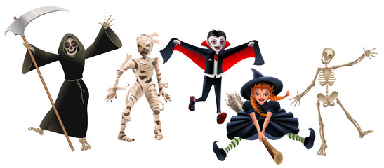 Death with scythe, mummy, dracula vampire, witch on broomstick and skeleton. Set characters Halloween Party