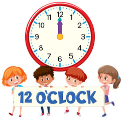Children and time 12 o'clock