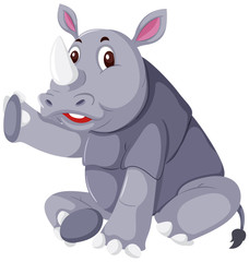 A cute rhinoceros on white background