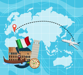 Travel map to Italy