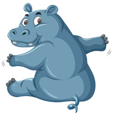 Cute hippo on white background