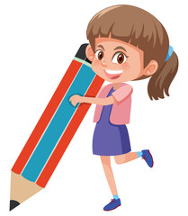 girl holding large pencil
