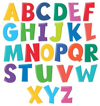 Colourful english alphabet on white background