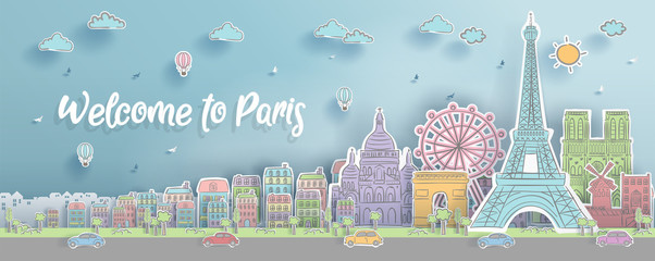 Fototapete - Panorama of top world famous landmark of Paris, France for travel poster and postcard, in paper cut style and doodle style vector illustration.