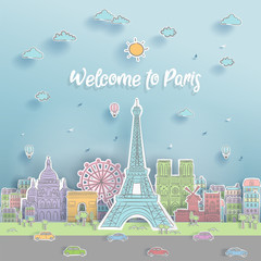 Fototapete - World famous landmark of Paris, France in paper cut style with hand drawn vector illustration for postcard and travel poster.