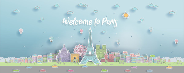 Fototapete - Panorama of world famous landmark of Paris, France in paper cut style with hand drawn vector illustration for postcard and travel poster.