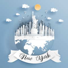 Fototapete - Paper cut style of world famous landmark of New York City landscape, America on the earth with label. Vector illustration.