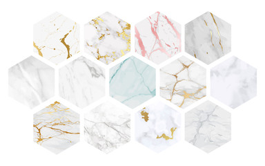 Fotobehang - Vector Marble Background Collection, Luxury textures good for using at wallpaper, banner, wedding card and cover design template.
