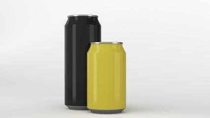 Big black and small yellow aluminum soda cans mockup