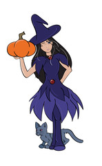 Witch Holding a Pumpkin, with black cat.