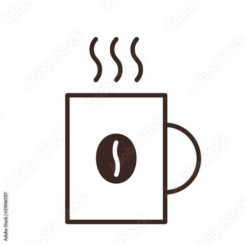 White On Icon Mug BackgroundHot Coffee Linear Cup Drink Isolated n8wOXk0PN