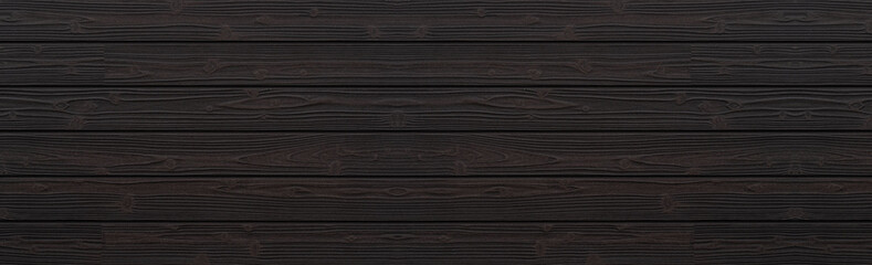 Panorama of Black wood wall background and texture