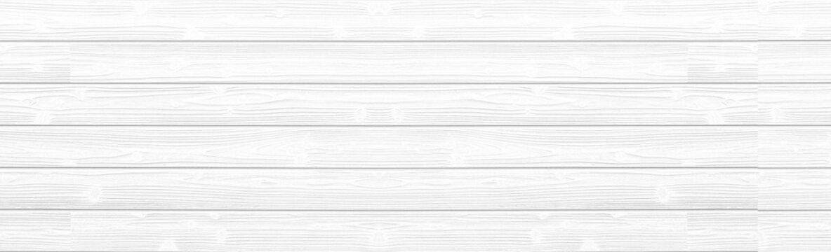 Panorama of white wood wall background and texture