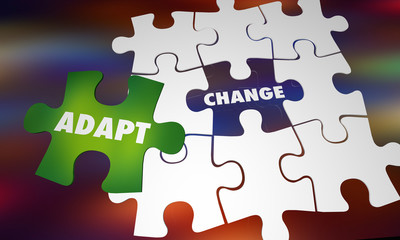 Adapt to Change Evolve Succeed Puzzle Words 3d Illustration