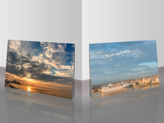 huge sky and sunset over the ocean and silhouettes of ancient buildings and a photograph of a cruise liner in the port