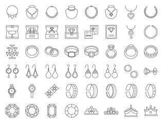 diamond, gemstones and jewelry related, thin line icon set